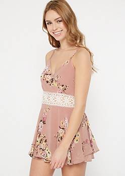 Dusty Pink Floral Print Crochet Waist Romper