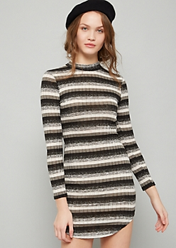 Black Striped Mock Neck Mini Sweater Dress