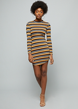 Navy Striped Mock Neck Mini Sweater Dress