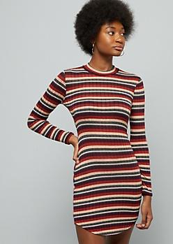 Burgundy Striped Mock Neck Mini Sweater Dress