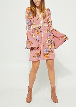 Pink Floral Crochet Trim Crepe Dress