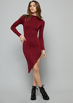 Burgundy Mock Neck Asymmetrical Hem Dress
