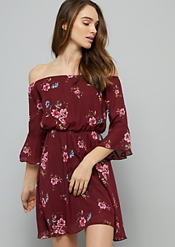 Burgundy Floral Print Off The Shoulder Bell Sleeve Dress
