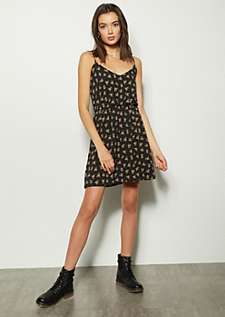 Black Floral Print Smocked Waist Mini Dress