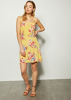 f494aca2746 Yellow Floral Print Straight Neck Skater Dress