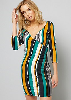 Green Striped Long Sleeve Ruched Wrap Dress