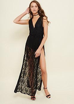 Black Bodysuit Lace Maxi Dress