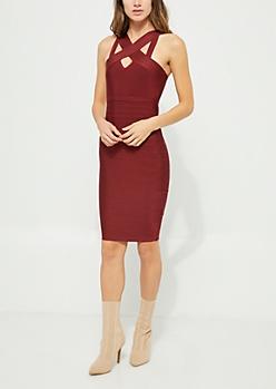 Burgundy Cross Neckline Bodycon Dress