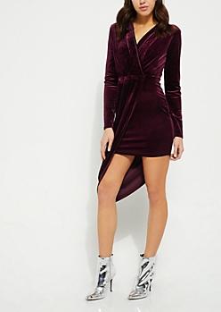 Purple Long Sleeve Wrap Velvet Dress