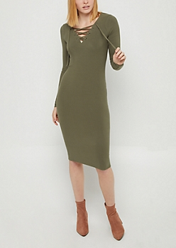 Olive Rib Knit Lace Up Bodycon Dress