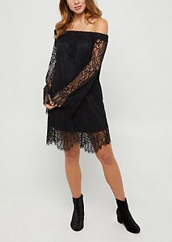 Black Eyelash Lace Off Shoulder Dress