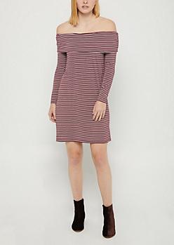 Burgundy Striped Off Shoulder Flounce Dress