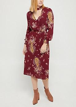 Burgundy Boho Floral Keyhole Dress