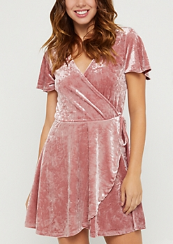 Pink Tulip Wrap Velvet Dress