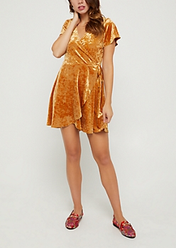 Mustard Tulip Wrap Velvet Dress