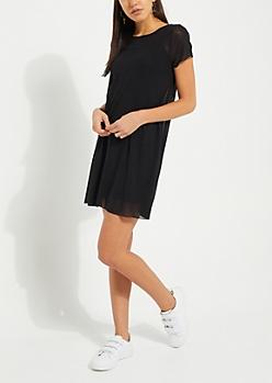 Black Sheer Mesh T Shirt Dress