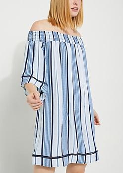 Striped Off Shoulder Challis Dress