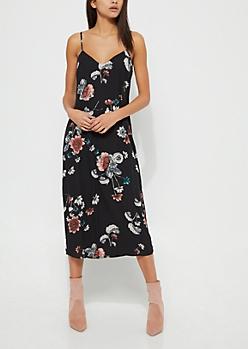 Black Floral Midi Cami Dress