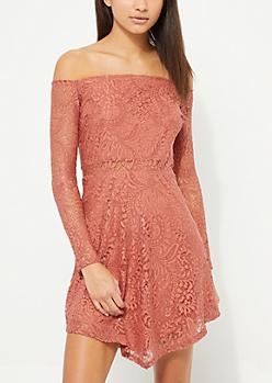 Burnt Orange Off Shoulder Flare Dress
