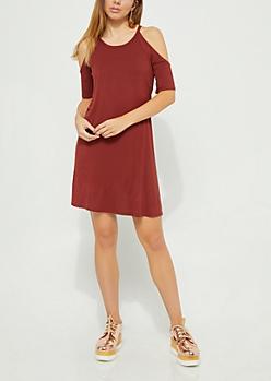 Burgundy Raglan Cold Shoulder Swing Dress