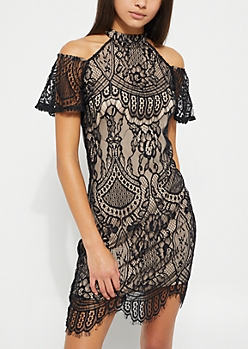 Black Cold Shoulder Contrast Lace Dress