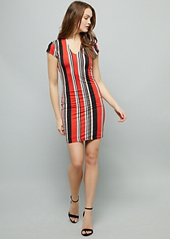 Red Striped Super Soft V Neck Mini Dress