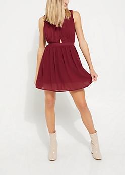 Burgundy Pleated Surplice Dress