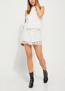 White Rounded Crochet Flounced Romper