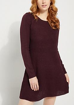 Purple Waffle Knit Sweater Dress