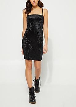 Black Crushed Velvet Cami Dress
