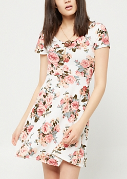 Ivory Floral Print Skater Necklace Dress