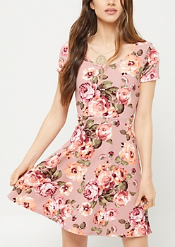 Pink Floral Print Skater Necklace Dress