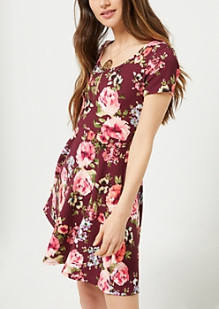 Burgundy Floral Print Skater Necklace Dress