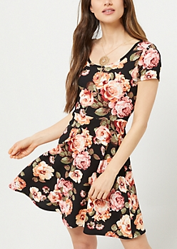 Black Rose Print Skater Necklace Dress
