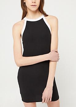 Black High Neck Bodycon Mini Dress