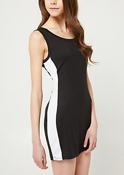 Black Varsity Striped Bodycon Mini Dress