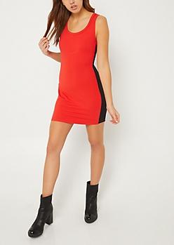 Red Varsity Striped Bodycon Mini Dress