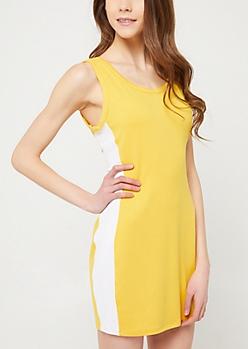 Yellow Varsity Striped Bodycon Mini Dress