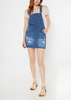 Medium Wash Ripped Jean Overall Dress
