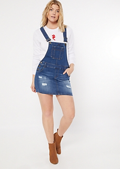Medium Wash Distressed Overall Dress