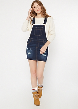 Dark Wash Distressed Overall Dress