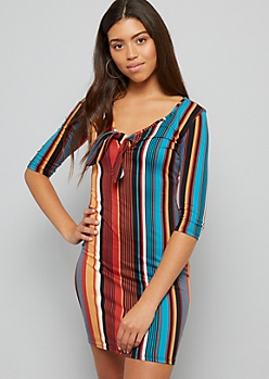Multi Striped Tie Neckline Bodycon Dress