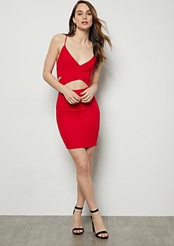 Red Crisscross Cutout Front Mini Dress