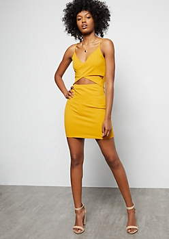 Mustard Crisscross Cutout Front Mini Dress