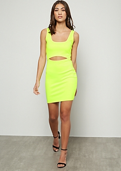 Neon Yellow Tank Top Cutout Mini Dress