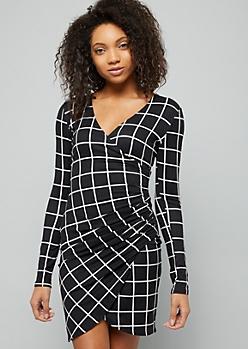 Black Grid Print Ruched Side Wrap Dress