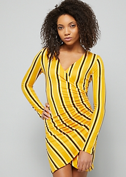 Mustard Yellow Striped Ruched Side Wrap Dress