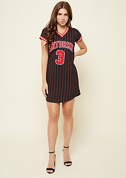 Red Fox Black Striped Heartbreaker Baseball Dress