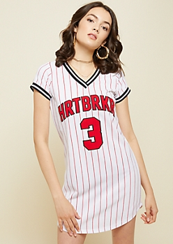 Red Fox White Striped Heartbreaker Baseball Dress