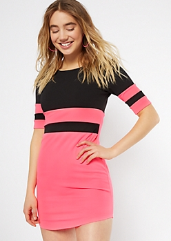 ff5b245d930e Neon Fuchsia Colorblock Mini Bodycon Dress